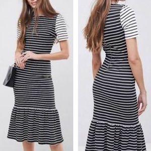 Asos black and white striped midi dress peplum hem